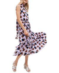 Kate Spade Geometric Flounce Midi Dress - Purple