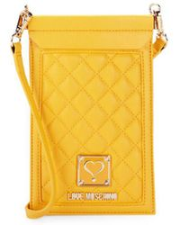 Love Moschino Quilted Cell Phone Case - Yellow