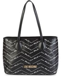 Love Moschino Faux Leather Shopper Tote - Black
