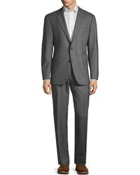 Hickey Freeman Milburn Iim Series Classic-fit Check Wool Suit - Grey