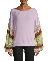 Free People Multicolored Crochet-sleeve Jumper - Purple