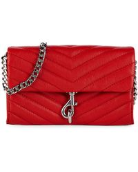Rebecca Minkoff Edie Quilted Leather Wallet-on-chain - Red