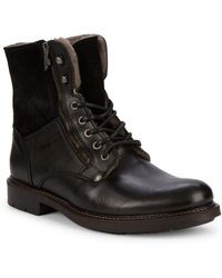 Pajar Mason Faux Shearling & Leather Combat Boots - Black