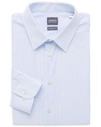 Armani Modern-fit Striped Dress Shirt - Grey