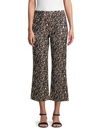 Free People Graphic Wide-leg Cropped Pants - Multicolour