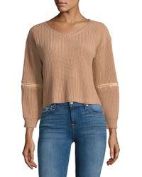 Haute Rogue - V-neck Zip-sleeve Sweater - Lyst