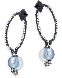 Alexis Bittar Women's Ruthenium-plated, Crystal & Freshwater Pearl Drop Hoop Earrings - Yellow