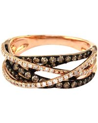 Effy - 14kt. Rose Gold Brown And White Diamond Crossover Ring - Lyst