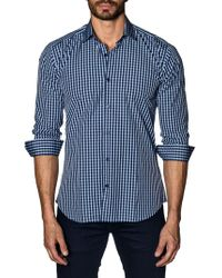 Jared Lang - Trim-fit Gingham Button-down Shirt - Lyst