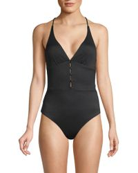Red Carter Maillot Empire Waist One-piece Swimsuit - Black