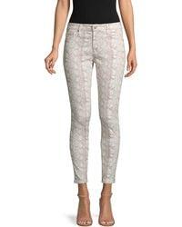 AG Jeans The Farrah High-rise Snakeskin-print Skinny Ankle Jeans - Grey