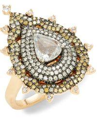 Sara Weinstock Geo 18k Rose Gold, White Diamond & Yellow Diamond Ring - Metallic