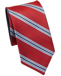 Saks Fifth Avenue - Double Face Stripe Silk Tie - Lyst