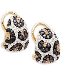 Effy 14k Gold White, Black & Brown Diamond Earrings - Multicolour