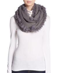 La Fiorentina Rabbit Fur-trimmed Infinity Scarf - Gray