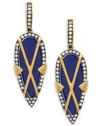 Freida Rothman - Crisscross Lapis Shield Gold Plated Drop Earrings - Lyst