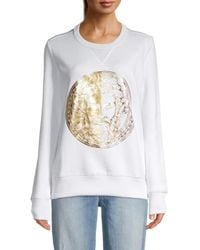 Versace Jeans Couture Women's Metallic Graphic Sweatshirt - White - Size M