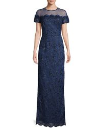 JS Collections Illusion Short-sleeve Embroidery Gown - Blue