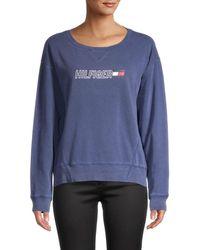 Tommy Hilfiger Women's Graphic Cotton Sweatshirt - Deep Blue - Size Xs