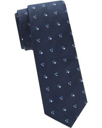 Saks Fifth Avenue Micro Floral Silk Tie - Blue