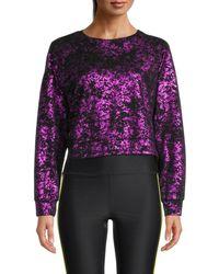 Terez Women's Metallic Burnout Sweatshirt - Fuchsia - Size S - Purple