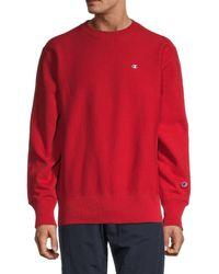Champion Men's Reverse Weave Warm Up Sweatshirt - Pretty Coral - Size M - Red