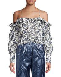 Robert Rodriguez Carmen Ruched Cold-shoulder Floral Top - Blue