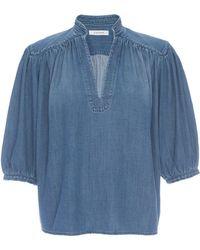 FRAME Cali Chambray Puff-sleeve Top - Blue