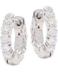 Saks Fifth Avenue 14k White Gold Diamond Huggie Hoop Earrings - Multicolour