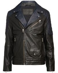 French Connection Colorblock Leather Moto Jacket - Black