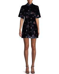 Free People Floral Velvet Mini Dress - Black