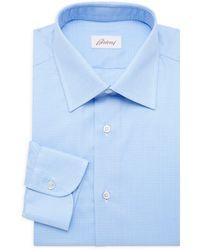 Brioni Regular-fit Chequered Dress Shirt - Blue