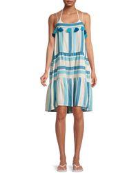 Tessora Rowan Striped Tiered Dress - Blue