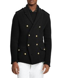 Ralph Lauren Admiral Double-breasted Knit Cardigan - Black