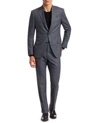 Saks Fifth Avenue Collection Glen Check Suit - Blue