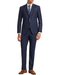 Emporio Armani M-line Modern-fit Wool Windowpane Suit - Blue