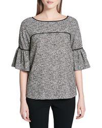 Calvin Klein Bell-sleeve Piped Tweed Top - Black