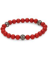 Saks Fifth Avenue Silvertone Bead Bracelet - Red