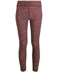 The Upside Women's Diamond-print Midi Capri Tights - Maroon - Size Xxs - Red