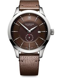 Victorinox Alliance Sterling Silver Analog Leather Strap Watch - Brown
