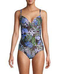 Calvin Klein Tropical-print One-piece Suit - Blue