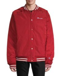 Champion Men's Logo Bomber Jacket - Scarlet - Size Xxl - Red