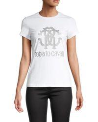 Roberto Cavalli Women's Glitter Logo T-shirt - Bianco - Size S - White