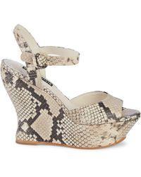Alice + Olivia Jana Embossed-snakeskin Leather Platform Sandals - Natural