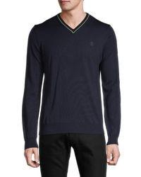 Roberto Cavalli Men's Wool Sweater - Navy - Size L - Blue