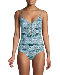 Tommy Bahama Printed One-piece Swimsuit - Blue
