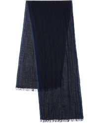 John Varvatos Fringed Wool Shawl - Blue