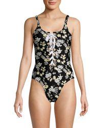 Derek Lam Floral Lace-up One-piece Swimsuit - Black