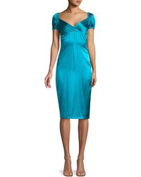Alexis Cadiz Satin Silk Sheath Dress - Blue