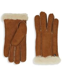 UGG Perforated Shearling Gloves - Brown